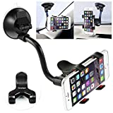 Car Phone Mount Windshield, Long Arm Clamp iVoler Universal Dashboard with Double Clip