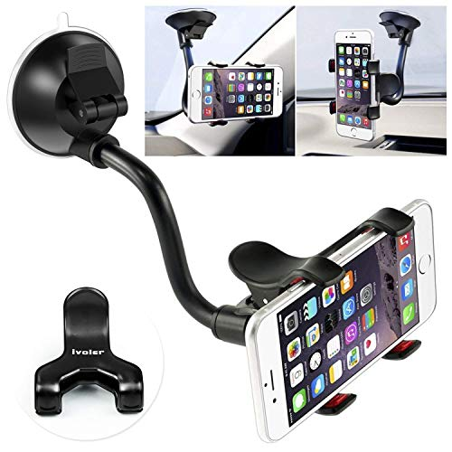 Car Phone Mount Windshield, Long Arm Clamp iVoler Universal Dashboard with Double Clip Strong Suction Cup Cell Phone Holder Compatible iPhone 11 Pro XS Max X 7 8 6 Plus Galaxy S9 S8 S7 Note 9 10