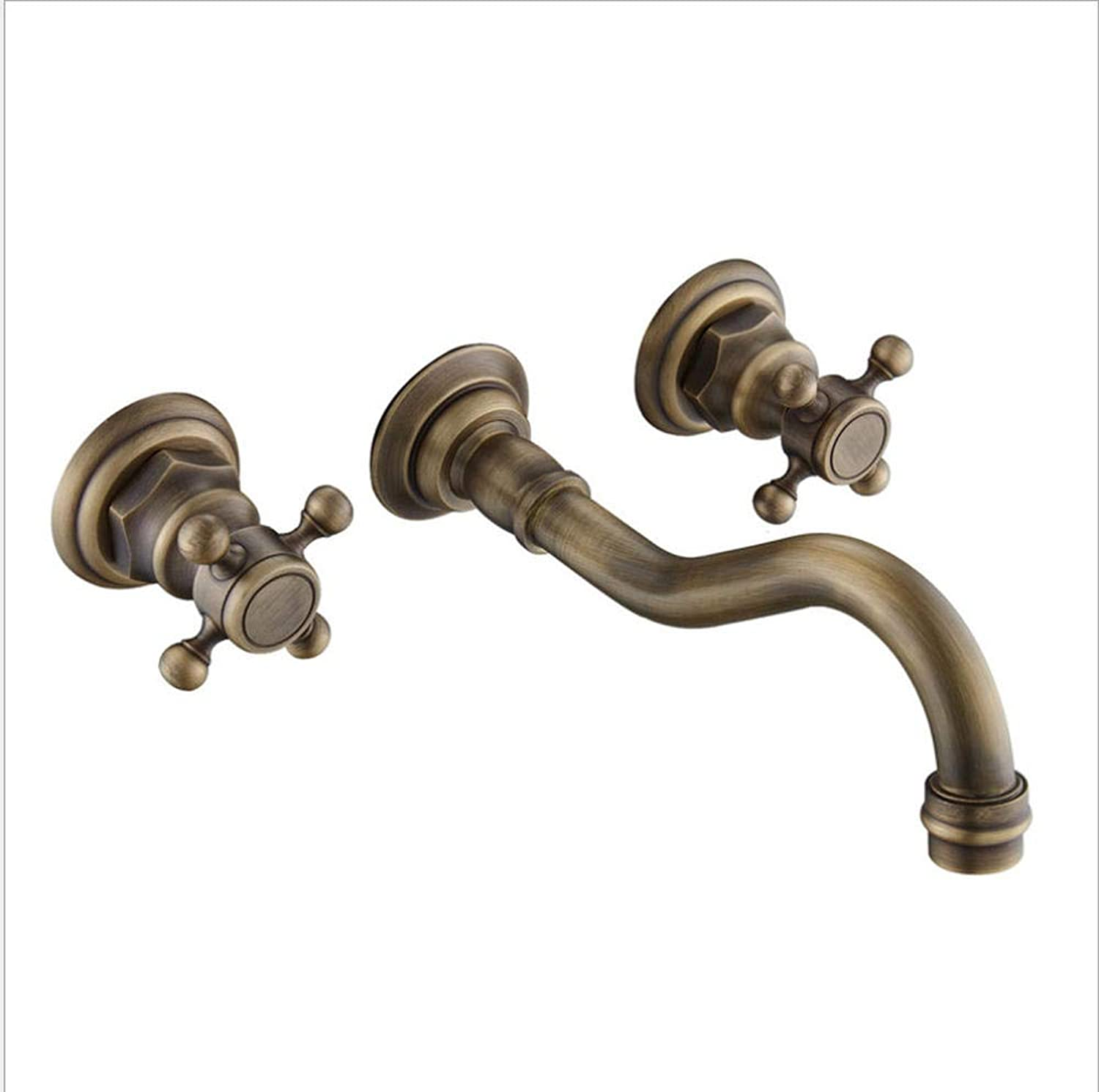 Floungey Kitchen Sink Taps Bathroom Sink Taps Brass Split Double Face Basin Faucet Three Sets Of Antique Bathtub Cabinet Mixing Faucet With Three Holes Into The Wall