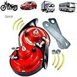 12V Loud Train Horn for Truck,300BDLoud Air Electric Snail Horn,Waterproof Motorcycle Snail Horn,Double Horn Raging Sound for Car Motorcycle