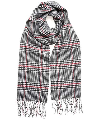 MIRMARU Winter Scarf Premium Cashmere Feel Classic Oblong Scarves –Lightweight and Various Styles (Glen Plaid - Black&Red)