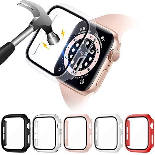 VASG 5 Pack Cover compatibile con Apple Watch Series 6/SE/Serie 5/Series 4 40mm con Vetro Temperato, Protezione Totale Ultra Sottile HD Clear Pellicola Protettiva per iWatch 40mm