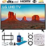 LG 60UK6090 60' 4K HDR Smart LED UHD TV w HDR (2018) (LG60UK6090PUA 60UK6090PUA 60UK6090P) + Flat Wall Mount Kit, 2X 6 High Speed HDMI Cable, 6-Outlet Surge Adapter, Night Light & Screen Cleaner