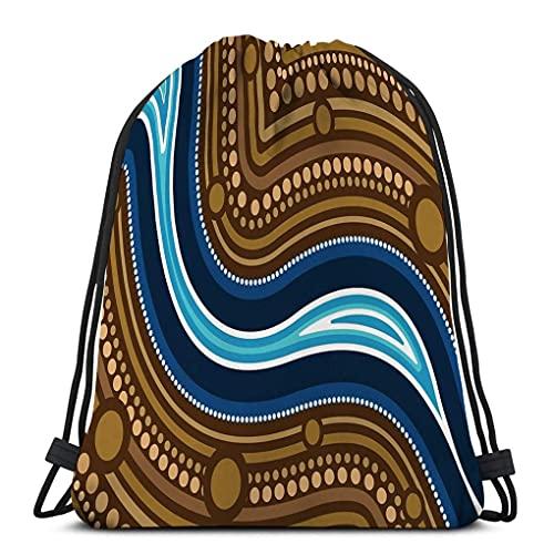 Palestra Borse con coulisse Zaini con coulisse Borse per palestra Home Travel Esercizio fiume arte aborigena pittura paesaggio terra Acquerello