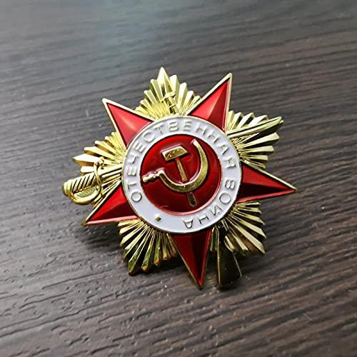 YUNjun MiniMedallaRusaInsignia de la Medalla de la Guerra patriótica Orden de Primera Clase de la Gran Guerra patriótica URSS Unión Soviética Insignia de Pin de Estrella roja
