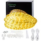 GuoTonG 50ft/15m Plug in LED Rope Lights, 540 Warm White LEDs, 110V, 2 Wire, Waterproof,...