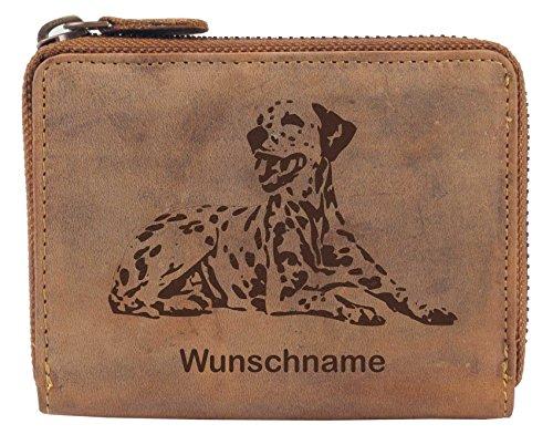 Greenburry Damen-Geldbeutel PERSONALISIERT Wunschnamen mit Hunde-Motiv Dalmatiner, Leder Damen-Geldbörse