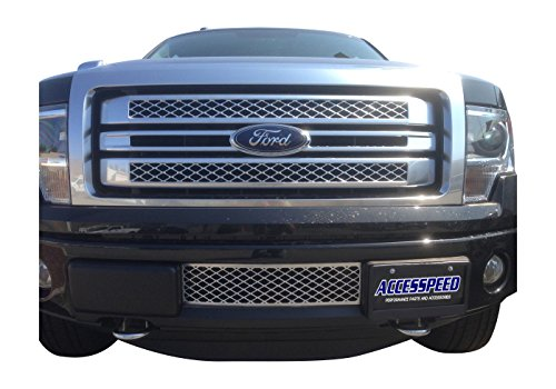EcoBoost Grilles 2009-2014 Ford F150 Lower Bumper Grille Chrome OEM Style Durable ABS Plastic Lower Bumper Insert Grille - Accesspeed 7002-1401 2009 2010 2011 2012 2013 2014 Ford F-150