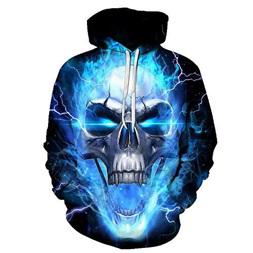 ZHRDRJB Sudaderas con Capucha 3D Impresión,Unisex Pullover 3D Print Blue Flame Skull Sudadera con Capucha...