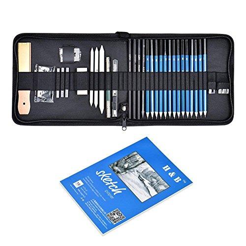 Cozywind 36pcs Lápices de Dibujo y Bosquejo Herramientas Set Boceto Lápices de Grafito Carboncillos Conjunto de Arte Profesional con Bloc de Dibujo Caja de Cremallera Portátil