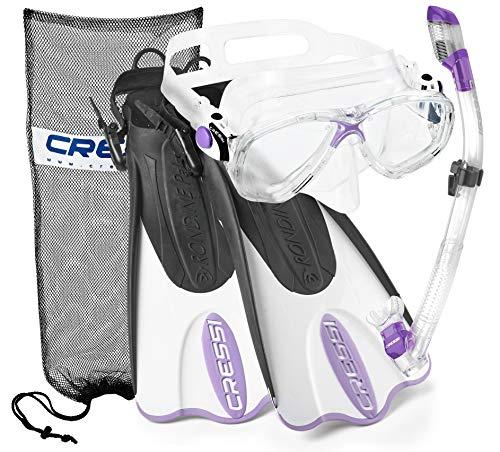 Cressi Italian Collection Palau Adjustable Mask Fin Snorkel Set with Snorkel Gear Carry Bag, Viola - SM/MD (CRSPSFSS_PR-S/M-Q)