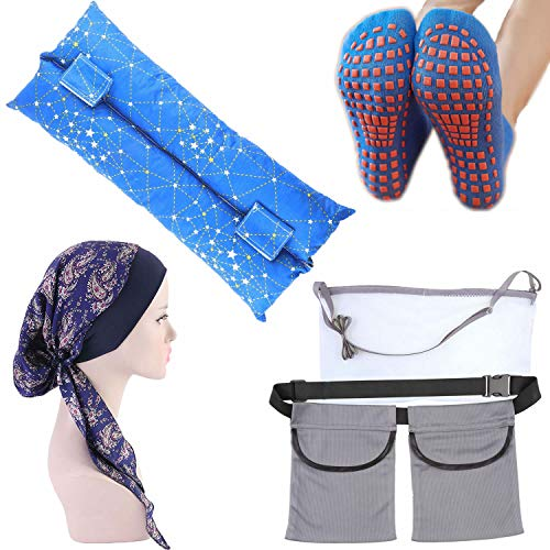 Mastectomy Recovery Gift Pack Include Mastectomy Drain Holder Pouch Chemo Headwraps Non-Slip Socks and Seatbelt Pillow