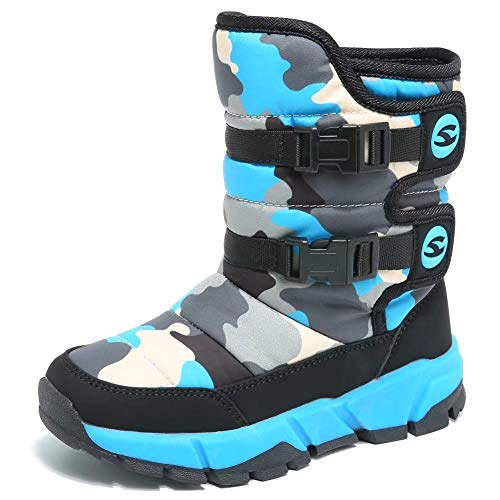 GUBARUN Boys Snow Boots Winter Waterproof Slip Resistant Cold Weather Shoes (Toddler)-10M,Black/Blue