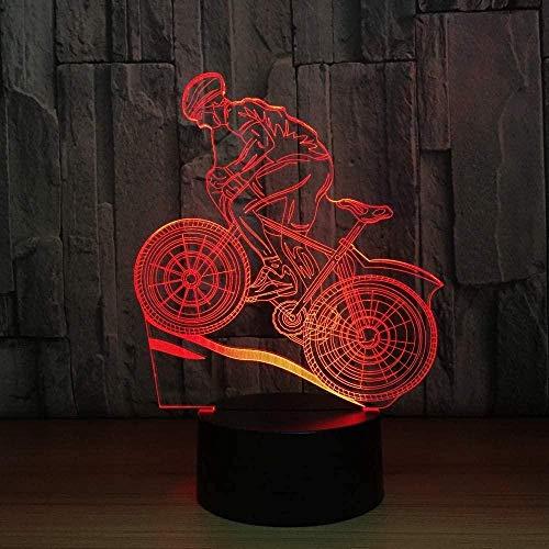 Linterna mágica 3D montando una bicicleta de montaña Luz nocturna 3D Linterna mágica 3D que cambia de color Luz nocturna LED Lámpara de escritorio USB como luz de decoración del hogar