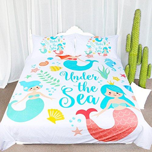 ARIGHTEX Mermaid Bedding Blue Turquoise Bedding Set Baby Girl Mermaid Duvet Cover Under The Sea Theme Bedding Comforter Cover (Full)