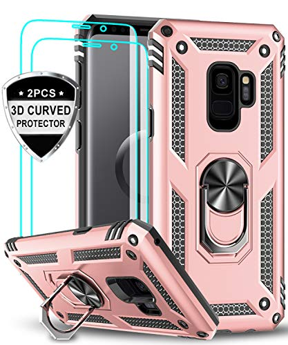 LeYi Funda Samsung Galaxy S9 Armor Carcasa con 360 Anillo iman Soporte Hard PC y Silicona TPU Bumper antigolpes Fundas Carcasas Case para movil Samsung S9 con HD Protector de Pantalla,Oro Rosa