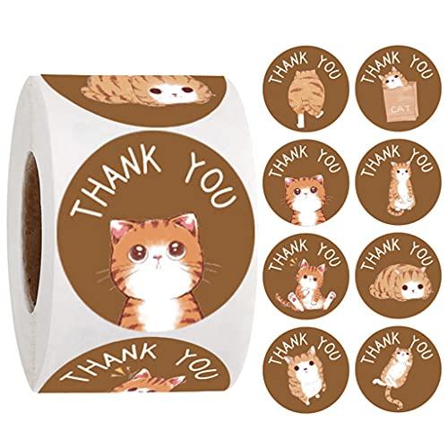 500 pegatinas de agradecimiento para gatos de 1 pulgada de gracias, para pequeños empresarios, sobres de dinero en efectivo