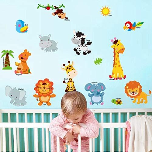 Pegatina de Pared Pegatinas de Pared de Animales de Selva para niños Habitación Decoración para el hogar Jungle Safari Vinyl Kids Room Securía Decoración de la habitación del bebé Hermoso y El