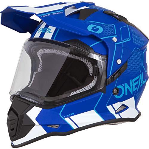 O'NEAL | Casco de Moto | Enduro | Carcasa Exterior de ABS, con Visera y Visor Solar Integrado, Cierre de Seguridad con barbiquejo en Doble D | Casco Sierra Comb | Adulto | Azul Blanco | Talla S ✅