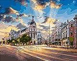CHXFit Paint by Number Kit Madrid City Landscape DIY Pintura al óleo Dibujo Lienzo con Pinceles Decoración navideña Decoraciones Regalos-40x50cm(wiht Frame)