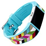 WITHit French Bull Silicone Replacement Band for Fitbit Charge 2, Blue Ziggy – Secure, Adjustable Stainless-Steel Buckle Closure, Fitbit Watch Band Replacement, Sweat-Resistant, Fits Most Wrists