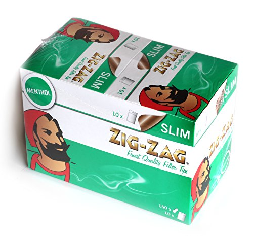 OCB Zig-ZAG Menthol Slim 6 mm-10 Beutel a 150 Stück Zigaretten Filter, Mehrlagig, weiß, 15 x 10 x 15 cm