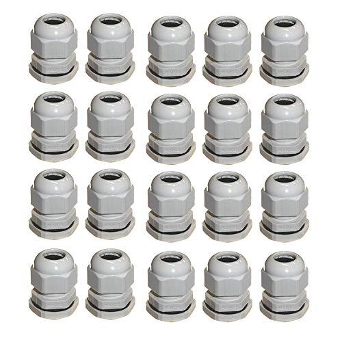 Paor Kabelverschraubungen, M10-M25, Ø 3mm-15mm Draht Kunststoff Füllung, Kompression, Wasserdichte Verschraubungen mit Gegenmutter und Unterlegscheibe, 40 Stück
