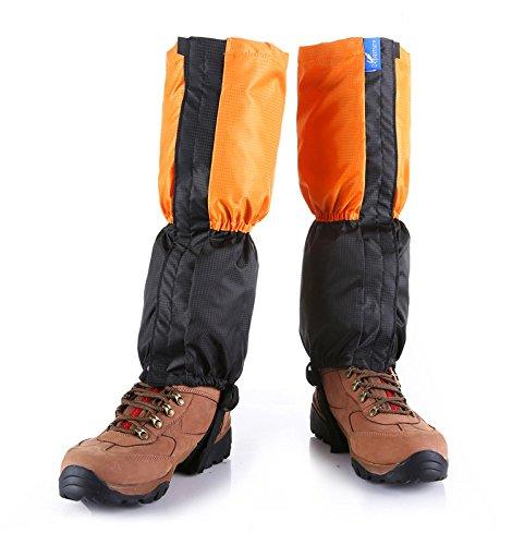 Kungken Unisexe extérieur étanche Guêtres de coupe-vent protection de jambe anti-neige Guard pour le ski de randonnée d'escalade de chasse, Homme femme Enfant, Orange