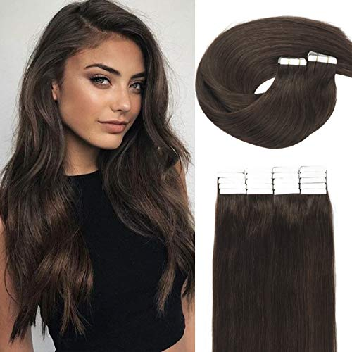 Caliee Tape Hair Extension with Semi Permanent Tape Seamless Virgin Indian Human Hair for Women Darkest Brown #2 Color Skin Weft Tape 50G, 20 Pcs, 18 Inch