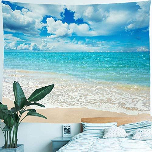 YeeATZ Tapiz de tela de poliéster para colgar en la pared, diseño de mar playa, océano, decoración para fiestas, dormitorio, dormitorio, sala de estar, 150 cm de ancho x 100 cm de alto, hamaca de coco