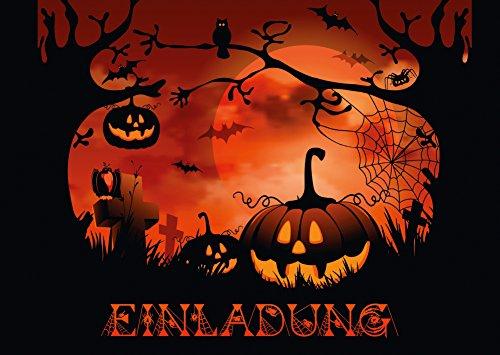"""""""NACHTS AUF DEM FRIEDHOF"""": 12-er Set gruselige Halloween-Einladungskarten: Einladungen zur nächsten Halloween-Party von EDITION COLIBRI © - umweltfreundlich, da klimaneutral gedruckt"""