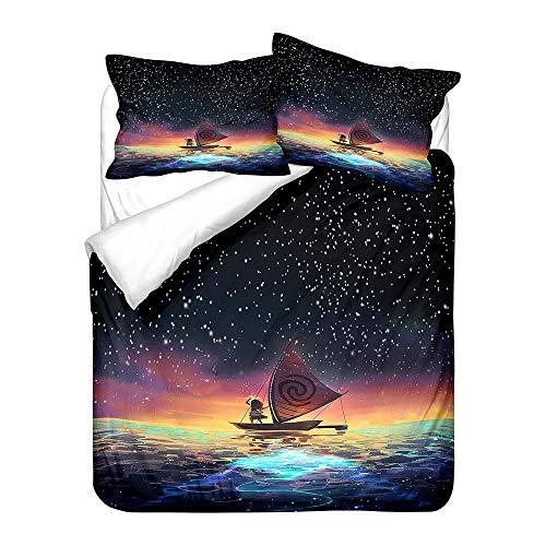 POMJK Moana Maui - Juego de ropa de cama, impresión digital 3D, microfibra, funda nórdica de animación infantil, incluye 1 funda nórdica y 2 fundas de almohada (A01, 140 x 210 cm)