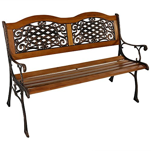 Sunnydaze 2-Person Garden Bench - Cast Iron and Wood Frame with Ivy Crossweave Design - 49-Inch Outdoor Patio Furniture - Perfect for Deck, Porch, Balcony, Backyard or Garden