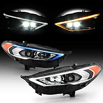 ACANII - For [Halogen w/Signature Lamp Only] 2017-2020 Ford Fusion Sequential Signal Blue Start/White LED DRL Headlights