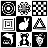 MINTLIFE Black White Flash Cards for Babies 20 Cards 40 Pages 8.4'' x 8.4'' High Contrast Newborn Baby Toys