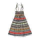 Geekercity Girls Bohemian Dress Summer Sling Dress Party Beach Tutu Sundress with Necklace (Green Strips, 9-10T)