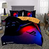 kxry 3D Printed Playstation Game Controller Bedding Set Queen Size Video Games Duvet Cover for Boys Kids Teens 1 Duvet Cover + 2 Pillow Shams