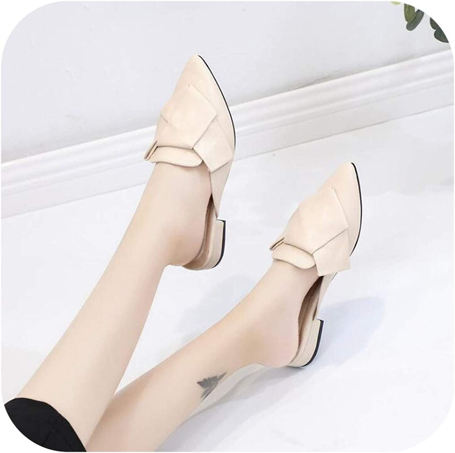 Size 43 Slippers Women Muller Low Heel shoes Butterfly-Knot Slippers Pointed Toe Leather shoes