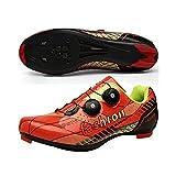 JINFAN Zapatillas De Ciclismo De Carretera para Hombre - Zapatillas De Microtex Premium con Tacos Zapatillas De Spinning SPD para Hombre,Orange-EU38