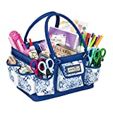 Everything Mary Blue Deluxe Store and Tote - Storage Craft Bag Organizer for Crafts, Sewing, Paper, Art, Desk, Canvas, Supplies Storage Organization with Handles for Travel