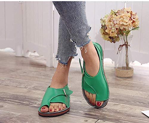 JFFFFWI Sandalias de Mujer Cuñas Zapatillas Cuero de PU Pies Casuales Suela Plana Correcta Sandalia Hebilla Correa de Tobillo Peep Toe con Soporte para el Arco del Dedo del pie Verano Playa Zapatos