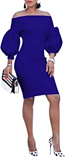 Ophestin Women Puff 3/4 Sleeve Off The Shoulder Bodycon Knee Length Party Pencil Midi Dress