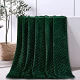 Whale Flotilla Ultra-Breath Soft Fleece Throw Blanket(50x60 Inch) with Brick Pattern, Decorative Fluffy Throw Blanket for Couch Sofa, Cozy and Lightweight for All Seasons, Deep Green