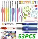 53 PCS Kits de Ganchillo, Agujas de Ganchillo ErgonóMico Suave Antideslizante Mangos De...