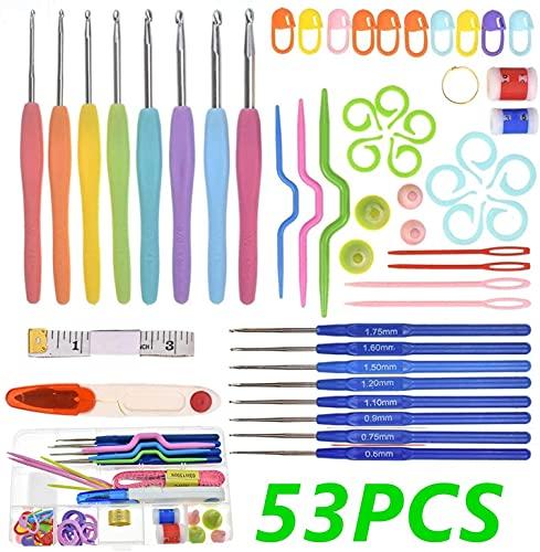 53 PCS Kits de Ganchillo, Agujas de Ganchillo ErgonóMico Suave Antideslizante Mangos De Goma Juego...