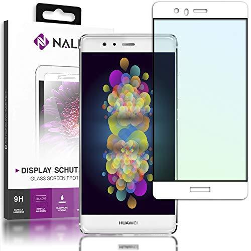 NALIA Vetro Temperato compatibile con Huawei P9, Pellicola Protettiva Antigraffio Display Copertura, 9H Durezza Protezione Telefono Cellulare Schermo Tempered-Glass Screen Protector, Colore:Bianco