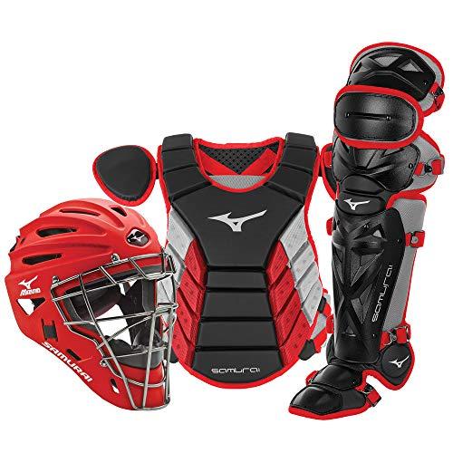 "Mizuno Samurai Youth Baseball Boxed Catcher's Gear Set, Black-Red, 14"" Youth Boys"