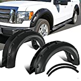 G-PLUS 6PCS Compatible for Ford F150 Offroad 2009 2010 2011 2012 2013 2014 Pocket Rivet Style Wheel Fender Flares Cover Smooth Black Wheel Cover Protector Vent Trim