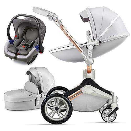 Hot Mom 3 in 1 Kombikinderwagen mit Buggy und Babywanne 360 Drehbar Kinderwagen, Hohe Landschaft PU-Leder Reversibele Aufsätze Federung in PU-Räder, 2020 neues Design-Grau