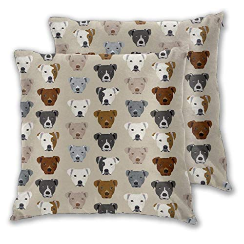 JONINOT 2 PCS 16'x16' Pitbull Heads Throw Pillow Cushion Case,Inserts are Not Included